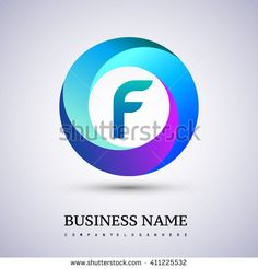 F letter colorful logo in the circle. Vector design template elements for your…