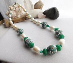Beaded Chunky Necklace with Green Clay Focal by Sparklesalot2