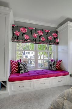 Great Neighborhood Homes - girl's rooms - window seat, built-in window seat, window seat storage, fuchsia pink pillow, fuchsia pink tufted s...