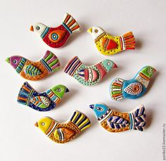 """Купить Керамические броши """"Птички"""" - комбинированный, птица, птичка, птички, птицы, птица счастья"""
