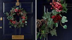 Decoration porte entree noel couronne vegetale