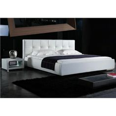 White Wooden Bed, Loft, Design, Furniture, Home Decor, White Queen Bed, Bed Frame, Artificial Leather, Bedroom