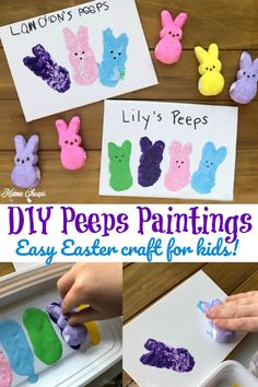 DIY Peeps Paintings great Easter Craft for Kids! DIY Peeps Paintings great Easter Craft for Kids! Easter Crafts For Toddlers, Easter Art, Bunny Crafts, Easter Crafts For Kids, Crafts For Teens, Easter Decor, Kids Diy, Easter Ideas, Easter Centerpiece