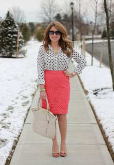 bright colored eyelet lace pencil skirt, black and white polka dot button down shirt, nude pumps, spring work outfit