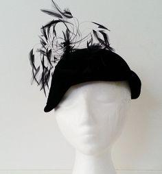 Gorgeous Black Velvet Flapper Hat