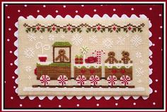 Country Cottage Needleworks Gingerbread Train - Gingerbread Village 1. Model stitched on 32 Ct. Lambswool linen with DMC floss, Classic Colorworks and Weeks Dye