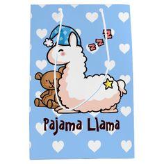 Blue Hat Pajama Llama Medium Gift Bag