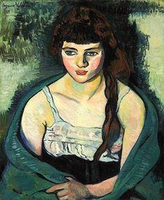 """""""Victorine ou La tigresse"""" (1919), Suzanne Valadon C'est une jeune femme aux long cheveux bruns elle a une tresse qui se situe sur le côté. Ses yeux sont bleu vert ses pommettes sont roses elle a les lèvres épaisses son teint est assez pâle. Cette femme est vêtue d'un robe blanche avec une étole verte qui se trouve sur ses épaules. Charline"""