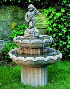 campania international amalfi two tier cast stone fountain - Stone Garden Fountains