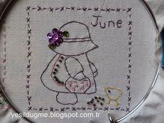 yeşil düğme: Sunbonnet Sue Haziran ayı-June
