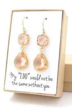 Peach Champagne / Gold Long Rope Rim Earrings - Champagne Earrings - Peach Earrings - Bridesmaid Earring - Gold Bridesmaid Earring-ER2