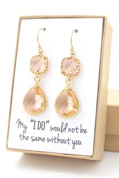 Two Piece Peach Champagne Earrings with Gold Trim  by ForTheMaids