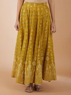 Yellow Print, Cotton Skirt, Printed Cotton, Loom, Ethnic, Clothes For Women, Clothing, Skirts, Unique