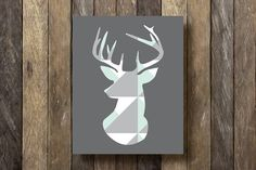 Geometric Deer Print - Printable 8x10 - Instant Download Print - Mint Decor - Geometric Print - Stag Silhouette - Tribal Decor - Wall Art