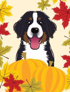 Bernese Mountain Dog Thanksgiving Flag Canvas House Size BB2043CHF