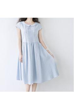 【M】丸い小衿ピンタック仕様ポケット付き半袖ワンピース♪