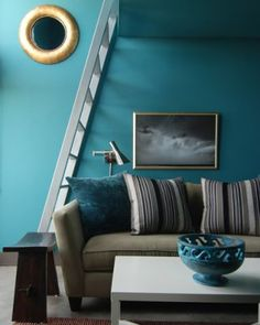 Soothing blue casual living room