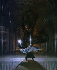 Ted Nasmith: Gandalf and the Balrog...my absolute favorite painting illustrating a scene from LOTR