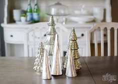 Diy Home  :   Illustration   Description   DIY silver leaf paper cone trees for Christmas tabletop decor    -Read More –   - #DIYHome