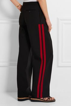 Love these pants!  Black wool and silk-blend gabardine, red grosgrain  Concealed button, hook and zip fastening at front 64% virgin wool, 36% silk; trim: 50% viscose, 50% cotton; pocket lining: 100% cupro Dry clean Made in Italy