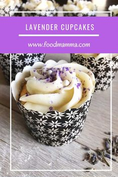 These cupcakes are flavoured with lavender and topped with a luscious buttercream icing. Perfect for celebrating a birthday! Lavender Cupcakes, Best Buttercream, Sour Cream Cake, Cupcake Flavors, Cupcake Wrappers, Mini Cupcakes, Food Print, Baking, Celebrations