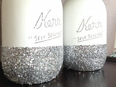 winter wedding decor - glitter mason jars