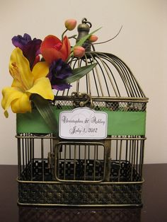 Bird cage for cards.  I have friends on the look out for a bird cage.