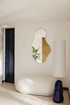 Home Interior Living Room Pond Mirror and Hebe Lamp Base by Ferm Living.Home Interior Living Room Pond Mirror and Hebe Lamp Base by Ferm Living Decor Room, Living Room Decor, Bedroom Decor, Bedroom Mirrors, 50s Bedroom, Bedroom Ideas, Master Bedroom, Ikea Bedroom, Bedroom Wall