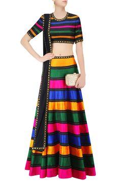 Multicolor Raw Silk Striped Lehenga Set #Lehenga #Multicolor #RawSilk #Striped…