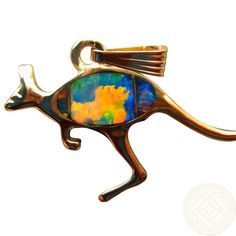 Extremely Bright Red Opal Kangaroo Pendant in 14k Gold. www.flashopal.com  #opal