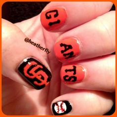 San Francisco Giants baseball nails....very cute but...wish they were cards nails