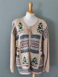 Ugly Christmas Sweater Jumper Women 2xL xxl Men xl trees Cardigan cotton CS24 #MaggieLawrence #Cardigan