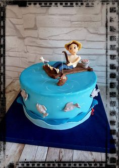 Fisherman fishing cake funny Fishing Cakes, Disney Characters, Fictional Characters, Disney Princess, Funny, Fishing, Fantasy Characters, Disney Princesses, Disney Princes
