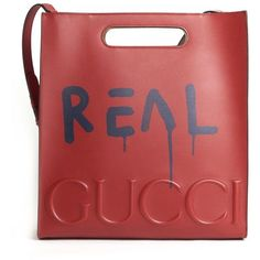 """GUCCI Leather """"Tote Ghost Real"""" Bag With Print In Front ($3,125) ❤ liked on Polyvore featuring bags, handbags, tote bags, leather handbag tote, leather tote purse, red leather tote bag, red leather purse and genuine leather tote"""
