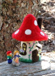 Items similar to Felt gnome home, fairy house, toadstool/mushroom house on Etsy Needle Felting Tutorials, Needle Felting Kits, Needle Felted Animals, Mushroom Crafts, Felt Mushroom, Mushroom House, Ornament Pattern, Felt House, Felt Bunny