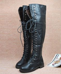 Black Lace Up Knee High Boots with Metal Skull Detail