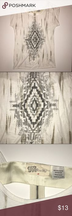 "Miss Me Ivory Southwestern Open Back T-Shirt Miss Me open back t-shirt with rhinestone embellished front design.  Item in good condition & is free from stains or flaws.  Machine washable.  Armpit seam to seam - 28"" & shoulder to bottom hem - 28"" Miss Me Tops Tees - Short Sleeve"