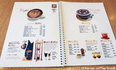Thanks Nature Cafe menu Korean Coffee Shop, Korea Cafe, Seoul Cafe, Pet Cafe, Cafe Menu Design, Coffee Shop Menu, Korea Design, Café Bar, Mori Girl