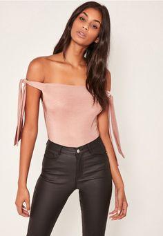 591fd3feea Pink Tie Side Slinky Bardot Bodysuit Going Out Tops