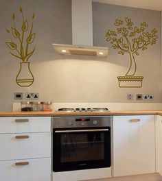 Beautiful Floral Pots Wall Sticker. The artistic flowering plants on your kitchen decors add a touch of style, elegance and sophistication and perfectly complement the contemporary feel and outlook of your kitchen. http://walliv.com/kitchen-tools-and-utensils-wall-sticker-wall-art-decal