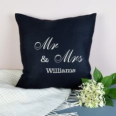 Black Mr and Mrs Personalised Cushion - available from MiaFleur