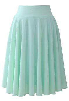 Macaron Mint Pleated Skirt