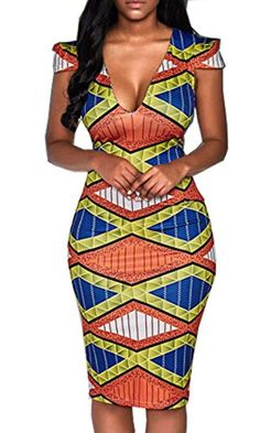 Women Short Sleeve V Neck Bodycon African Print Party Dashiki Dress Clothing African Print Dresses, African Dresses For Women, African Attire, African Wear, African Fashion Dresses, Party Dresses For Women, African Women, African Outfits, African Style
