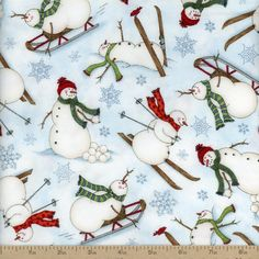 Frolic in the Snow Skiing Snowmen Flannel Fabric - Blue by Beverlys.com