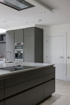Warm Grey Corian®, designed by Uber Kitchens Most Popular Kitchen Design Ideas on 2018 & How to Remodeling Simple Kitchen Design, Grey Kitchen Designs, Kitchen Cabinet Design, Interior Design Kitchen, Kitchen Cabinetry, Kitchen Units, New Kitchen, Kitchen Ideas, Kitchen Sink