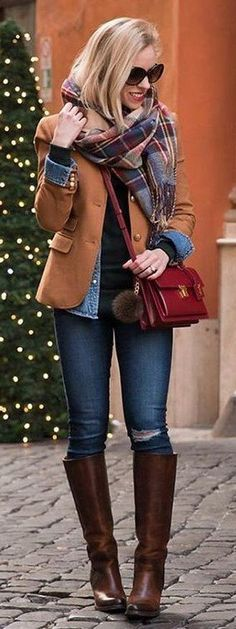 Camel Blazer / Print Scarf / Ripped Skinny Jeans / Brown Leather Boots