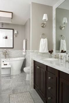 bathrooms - Benjamin Moore - Coastal Fog - marble tiled floor, marble walls, marble bathroom, basketweave marble tiled floors, basketweave accent tile, tiled rug, espresso stained vanity, double vanity, master bathroom, his and hers sinks, dual sinks, brushed nickel hardware, brushed nickel sconces, #marblebathroom