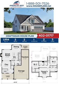 Get to know Plan 402-01717, a Craftsman design highlighted by 1,994 sq. ft., 3 bedrooms, 2.5 bathrooms, a covered porch, a kitchen island, a flex room and an office. Learn more on our website today! Craftsman Style Homes, Craftsman House Plans, Floor Plan Drawing, Cost To Build, Construction Drawings, Flex Room, Floor Layout, Best House Plans, Architectural Elements