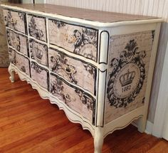 French Script Burlap Dresser. Fun to do, but time consuming!