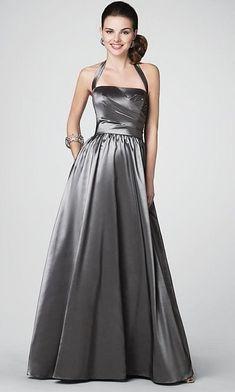 Size 10 Carbon Gray Alfred Angelo Halter Long Bridesmaid Dress 7185 at frenchnovelty.com